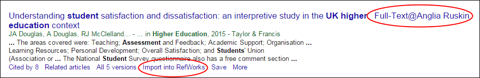 example from Google Scholar with Anglia Ruskin full text and RefWorks settings saved