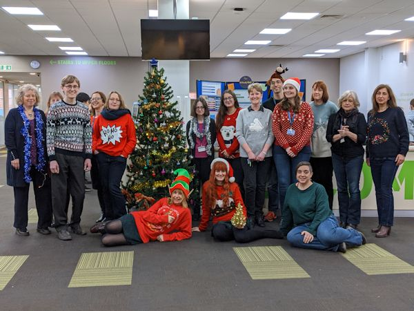 Staff at Cambridge Campus Celebrating Christmas Jumper Day 2019