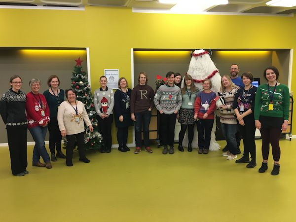 Staff at Chelmsford Campus Celebrating Christmas Jumper Day 2019