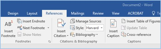 Screenshot of the referencing tab in MS Word
