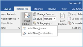 Screenshot of the Insert Citation Option in MS Word