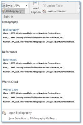 Screenshot of the Select Citation in MS Word